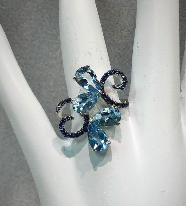 Mariage - 14K White Gold Pear Cut Blue Aquamarine And Blue Sapphire Ring