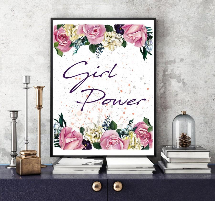 Mariage - Girl power, Womens rights, Lady boss, Girl boss, Watercolor quotes, Fashion art poster, Watercolor roses, Fashion illustration