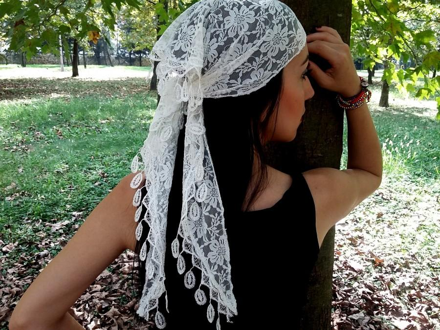 Hochzeit - White lace head band, Wedding Hair band, Summer Hair band, Summer scarf, Lace Scarf, Women scarf, White scarf, White shawl, scarf headband