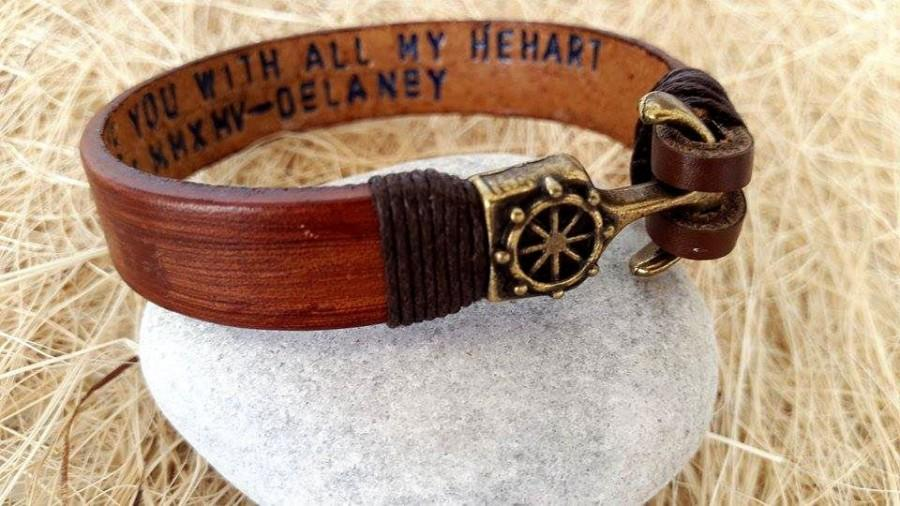 Hochzeit - Father's Day Gifts ,Personalized Bracelet leather bracelet, Male Bracelet, Custom Bracelet, Graduation Gift,