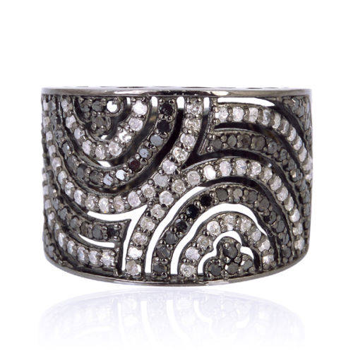 Düğün - 925 Sterling Silver Pave Diamond Eternity Band Designer Ring Jewelry
