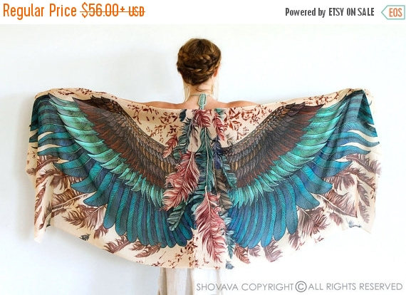 Wedding - SALE Silk Shawl, Boho Wrap, Womens Cape Scarf, Womens Wrap, Bridesmaid Scarf, Feather Print Wrap, Engagement Gift, Bohemian Shawl, Rustic Sh