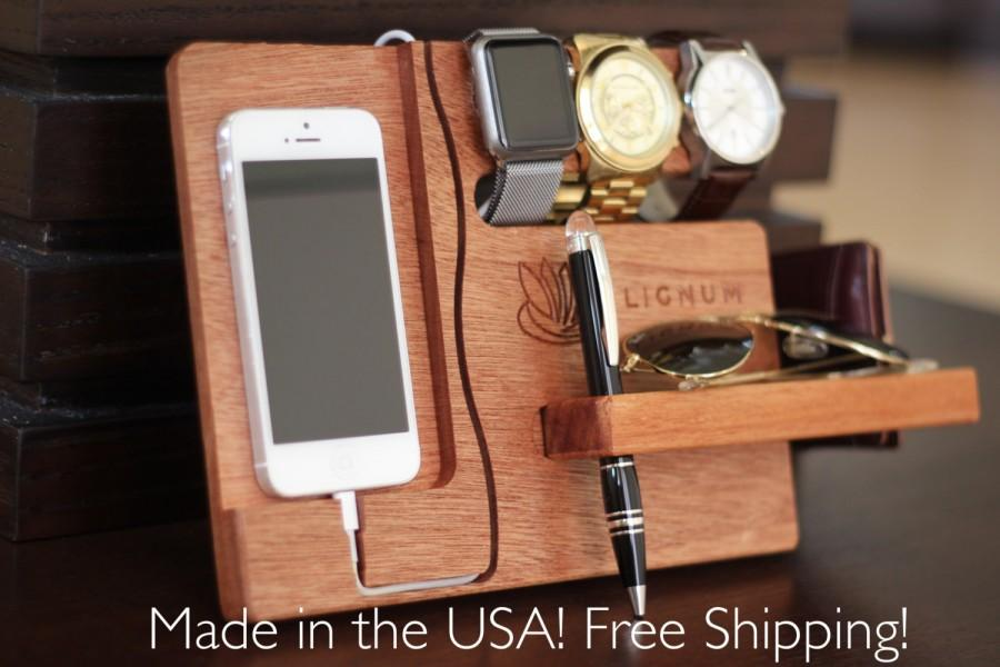 Wedding - Docking Station, Apple Watch Charging Station, Apple Watch Stand, iPhone Dock, Tech Organizer, Gift for Dad, Gift for Him Gift for Boyfriend