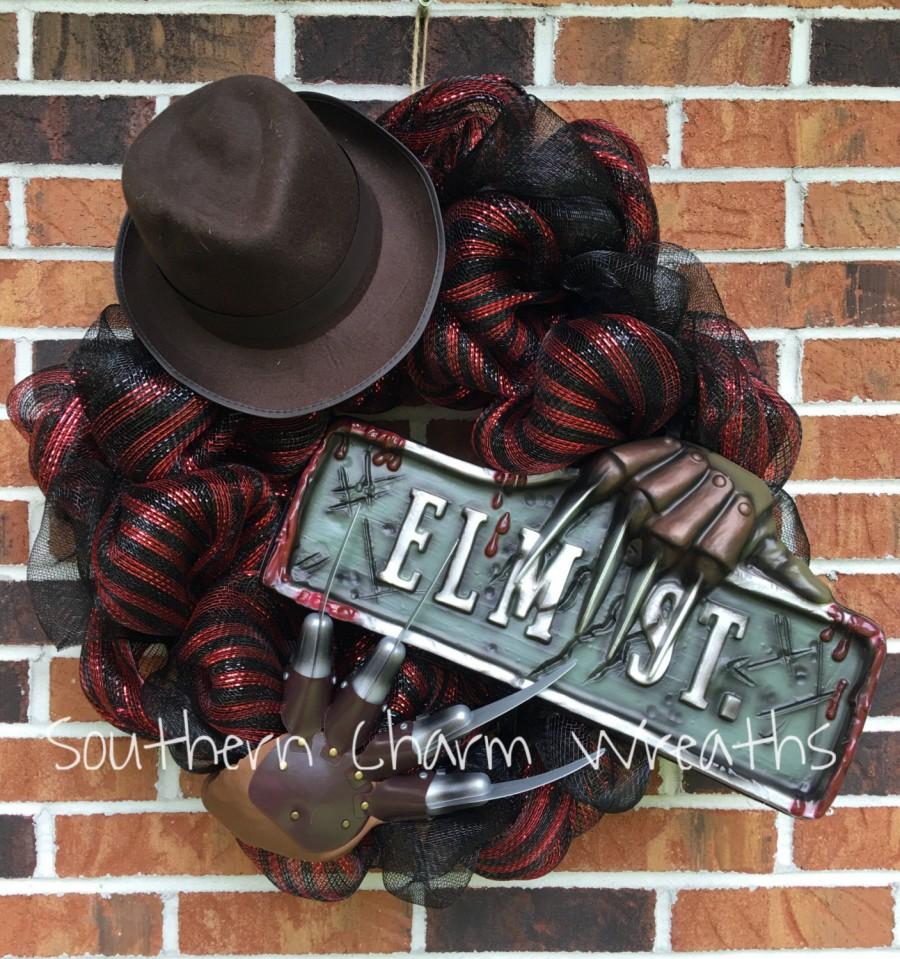 "Hochzeit - 24"" Deco Mesh Nightmare on Elm Street Freddy Halloween Wreath PLEASE READ LISTING"