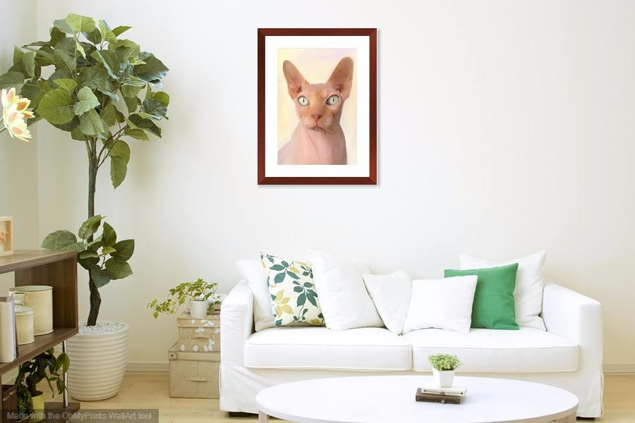 Wedding - Sphinx anthropomorphic cat wall art. Unique hairless kitty digital oil painting wall hanging. Gift ideas for feline lovers. Nursery decor