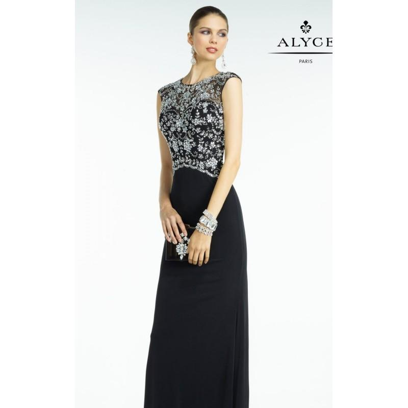 Wedding - Black/Silver Beaded Open Back Jersey Gown by Alyce Black Label - Color Your Classy Wardrobe