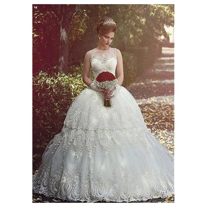 Wedding - Stunning Tulle Jewel Neckline Ball Gown Wedding Dresses With Appliques - overpinks.com