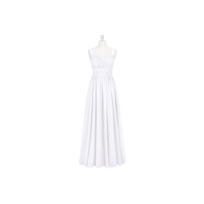 Wedding - White Azazie Dara - Floor Length Chiffon Sweetheart Illusion Dress - Charming Bridesmaids Store