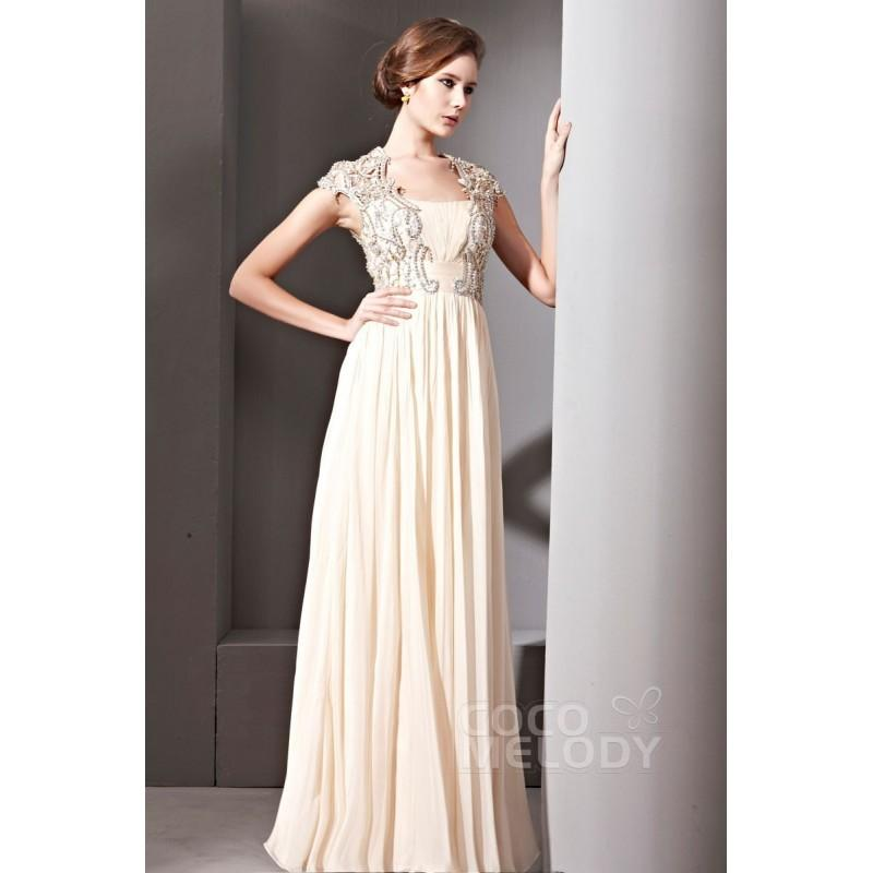 Wedding - New Arrival Sheath-Column Square Floor Length Chiffon Evening Dress with Beading and Pleating COSF14024 - Top Designer Wedding Online-Shop