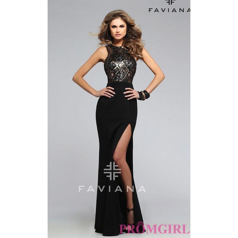 Wedding - Long Black Open Back High Neck Faviana Prom Dress - Brand Prom Dresses