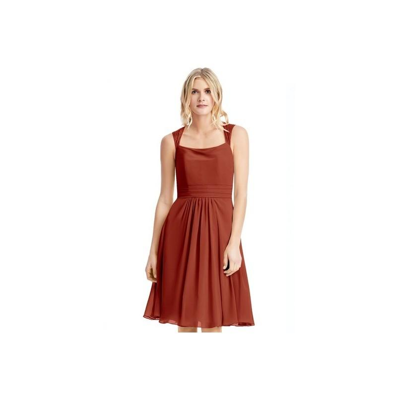 Wedding - Rust Azazie Siena - Chiffon And Lace Illusion Knee Length Dress - Cheap Gorgeous Bridesmaids Store