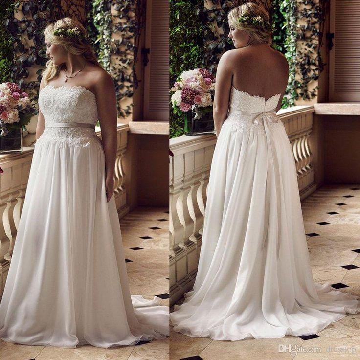 Cheap New Arrival Plus Size Wedding Dresses Strapless Neck Sweep ...