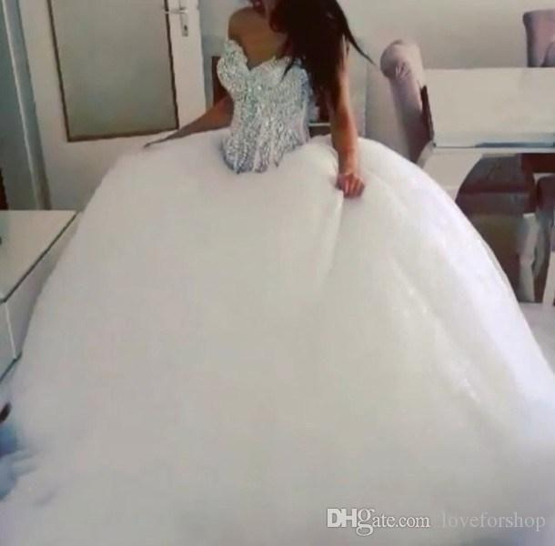 Wedding - New Arrival 2016 Classic Fashion Ball Gown Wedding Dress With Rhinestone Bodice Bridal Gown Puffy Skirt Tulle Skirt