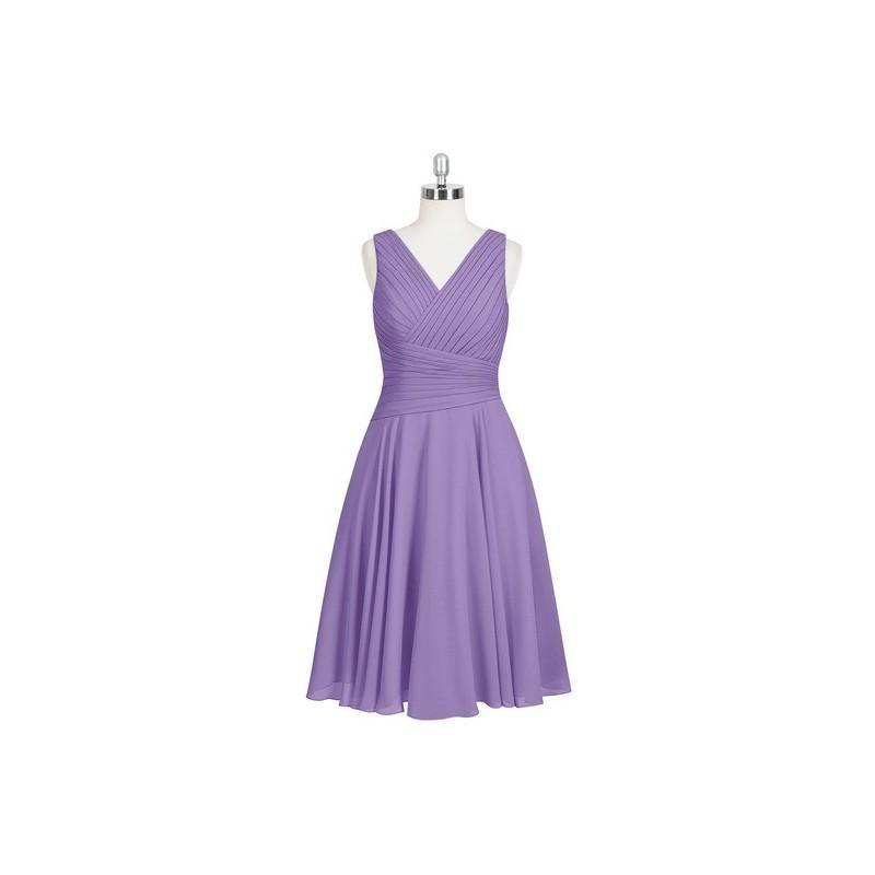 Wedding - Tahiti Azazie Jenna - Knee Length Back Zip V Neck Chiffon Dress - Cheap Gorgeous Bridesmaids Store