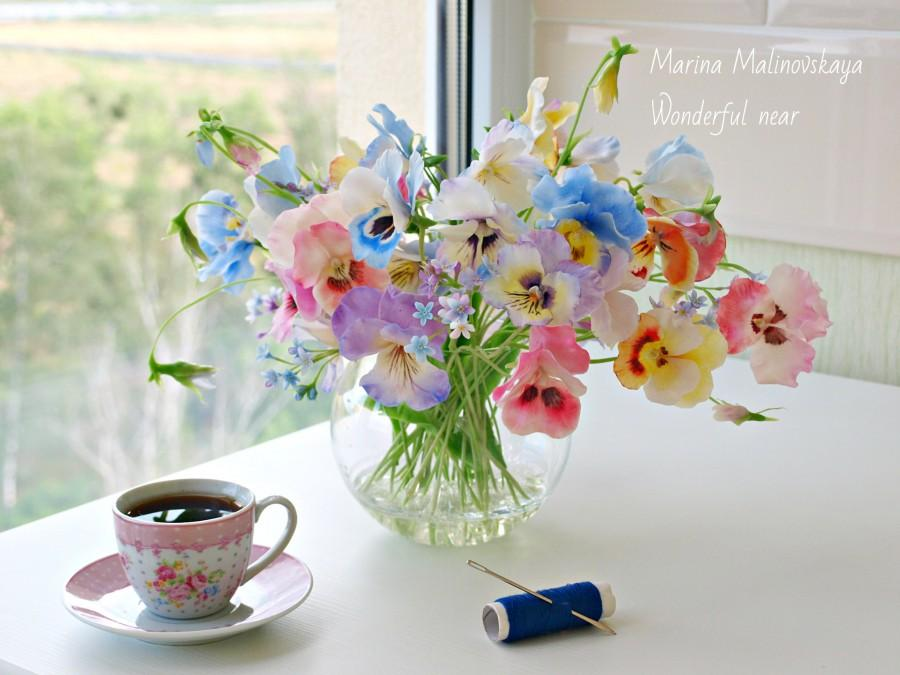 Pansy Bouquet,flower Arrangements, Motheru0027s Day Gift,pansy, , Bedroom  Decor, Flowers, Clay Flowers, Spring Flowers, Spring Gift, In Stock