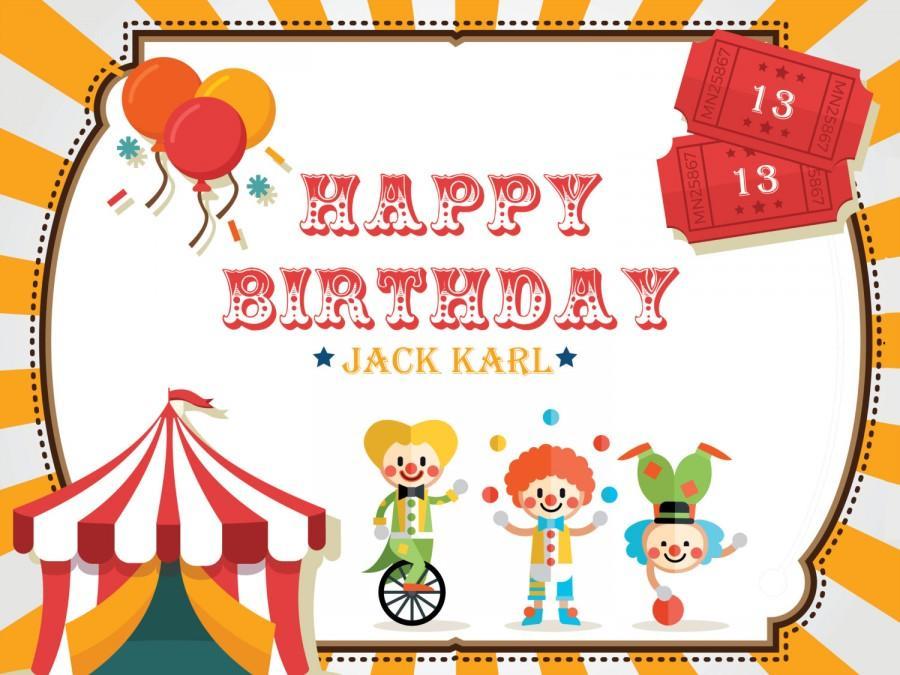 Свадьба - Clowns Carnival theme Birthday banner, Circus theme, tent, clowns, hot air balloon, banner elements, Carnival Birthday Decor 10000210