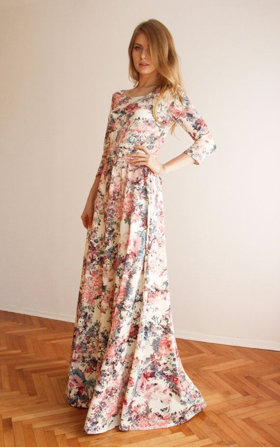 Mariage - Maxi Circular Skirt Pink Floral Print Dress