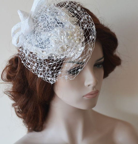 Wedding - Bridal Birdcage Veil, White Fascinator, Crystals Pearls Lace Birdcage, Bandeau Birdcage Veil, Wedding Accessory, Bridal Hair Accessories