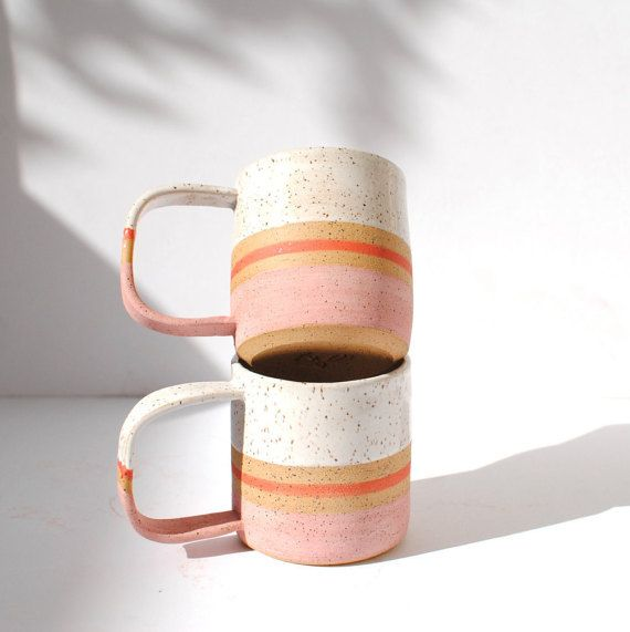 Wedding - Handmade Ceramic Blush Stripe Mug