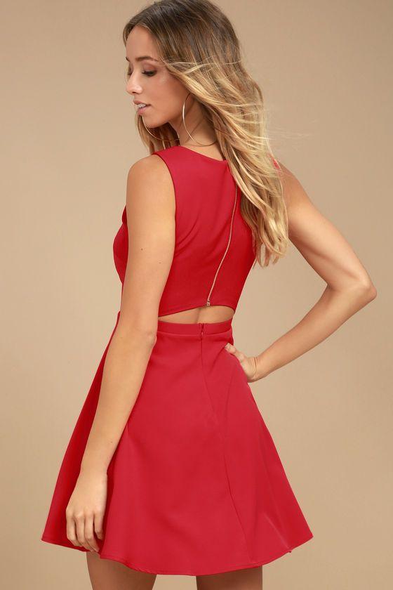 Wedding - Just Us Red Skater Dress