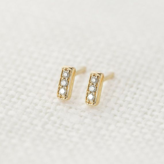 Pave Diamond Bar Stud Earrings In 14k Solid Yellow Gold Tiny Simple Minimalist White Rose E101 3