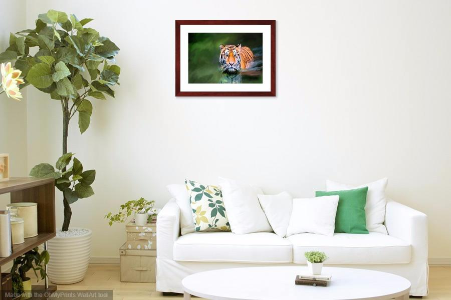Tiger Oil Painting Portrait From A Photo Safari Animal Nursery Room Print Modern Realistic Home Decor Wall Hanging African Cat Art