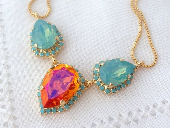 Свадьба - Pink Orange Pacific Opal And Turquoise Swarovski Crystal Necklace, Statement Necklace, Bridal Necklace, Bridesmaid Gift, Bib Necklace