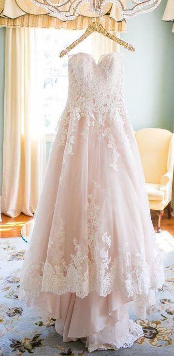 Hochzeit - Blush Pink Sweetheart Wedding Gown,Princess Tulle Wedding Dress,Lace Appliqued Brides Dress,N129