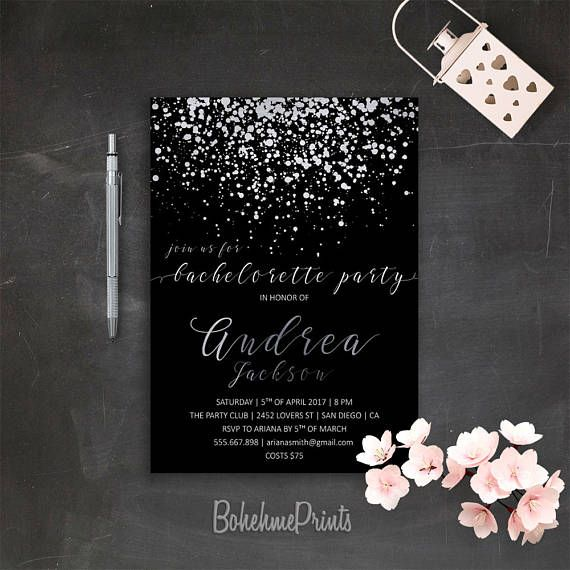 silver black bachelorette invitation printable silver glitter