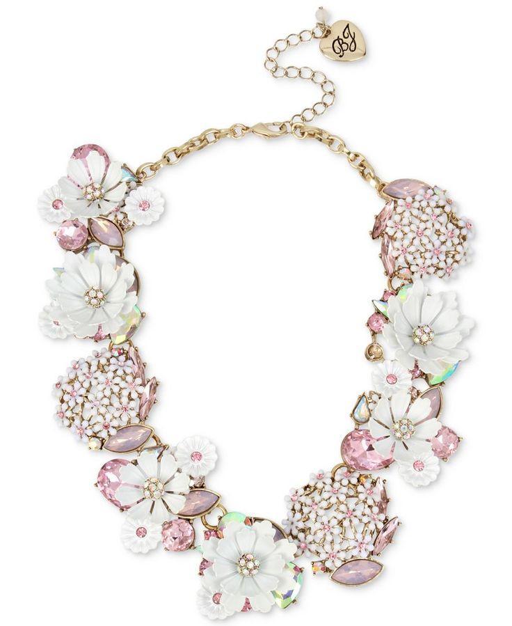 Mariage - Betsey Johnson Gold-Tone Multi-Stone Flower Statement Necklace