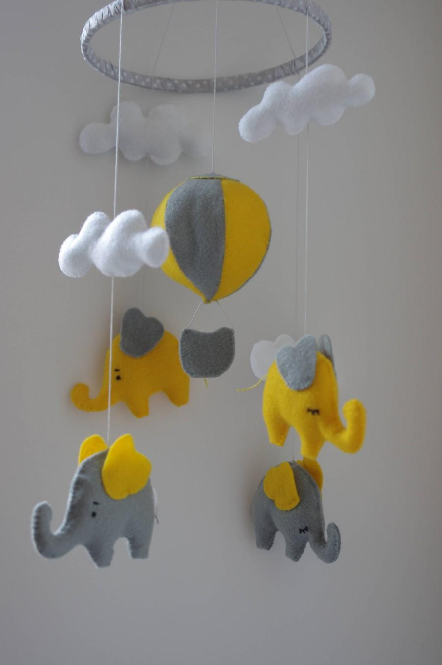Nursery Mobile Baby Elephant Hot Air Balloon Yellow Gray Decor Cot Neutral