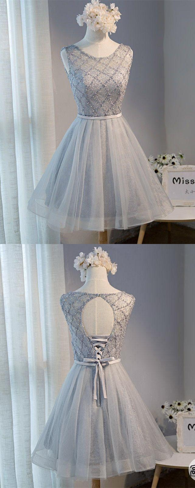 Wedding - A-Line Round Neck Open Back Grey Tulle Short Homecoming Dress With Beading