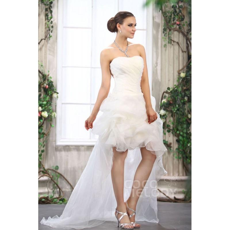 Mariage - Dreamy Asymmetrical Sweetheart High-Low Organza Wedding Dress CWLH13009 - Top Designer Wedding Online-Shop
