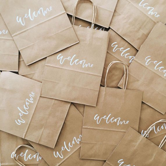 Wedding - Custom Gift Bags, Wedding Welcome Bags, Wedding Favors, Personalized Gift Bags, Hand Lettered, Calligraphy, Kraft Bags