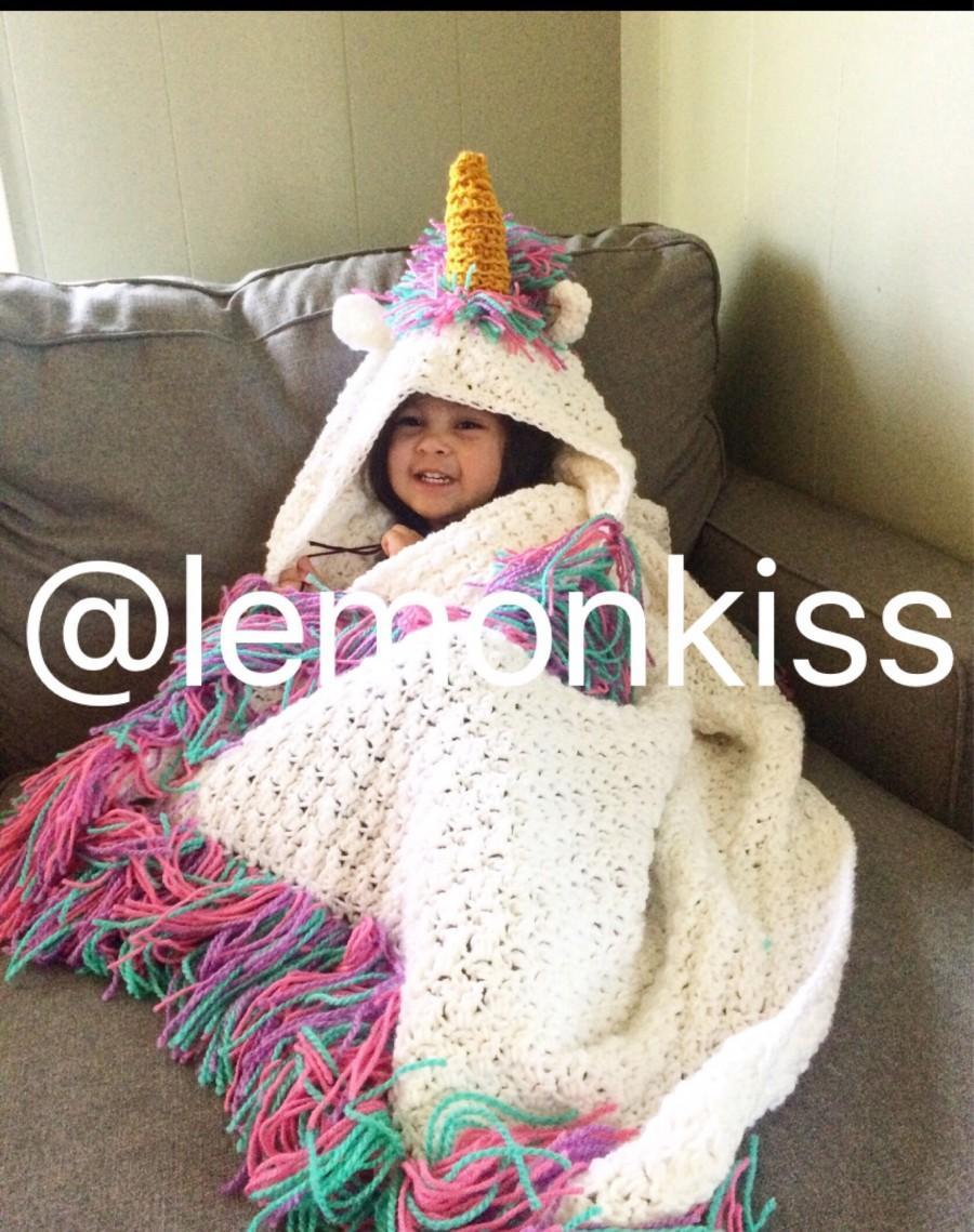 Wedding - Sparkling  Hooded unicorn blanket, unicorn blanket, rainbow unicorn baby-adult sizes, crochet unicorn blanket, unicorns