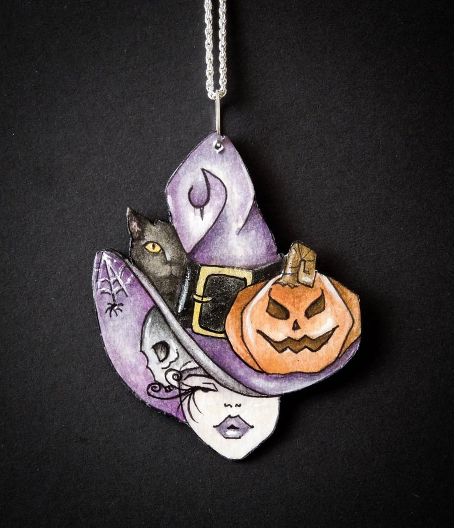Wedding - Halloween Jewellery, Illustrated Fantasy Necklace, Halloween Night Party Gift Idea, Halloween Whimsy Witch Hand Painted
