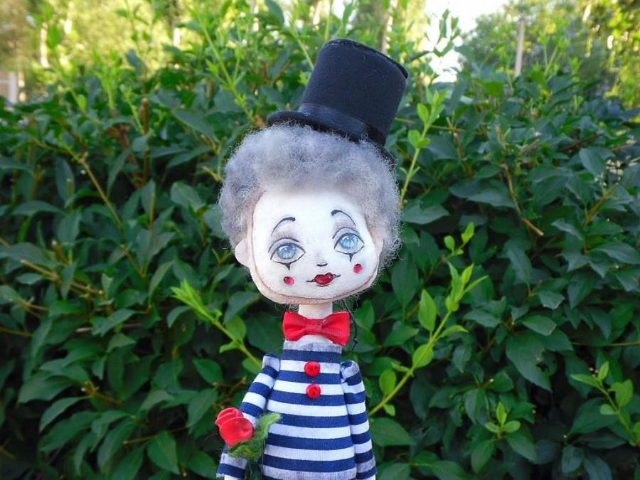 """Wedding - Mime doll Personal Mime gift-miniature doll """"I love Paris!"""" Collection ooak doll handmade  Personalized doll Portrait doll Textile doll"""