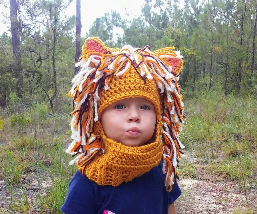 Wedding - Jungle Cat, Lion Ski Mask, Handmade Crochet Lion Winter Hat, Lion Costume, Crochet Photo Prop, youth size, custom sizes available