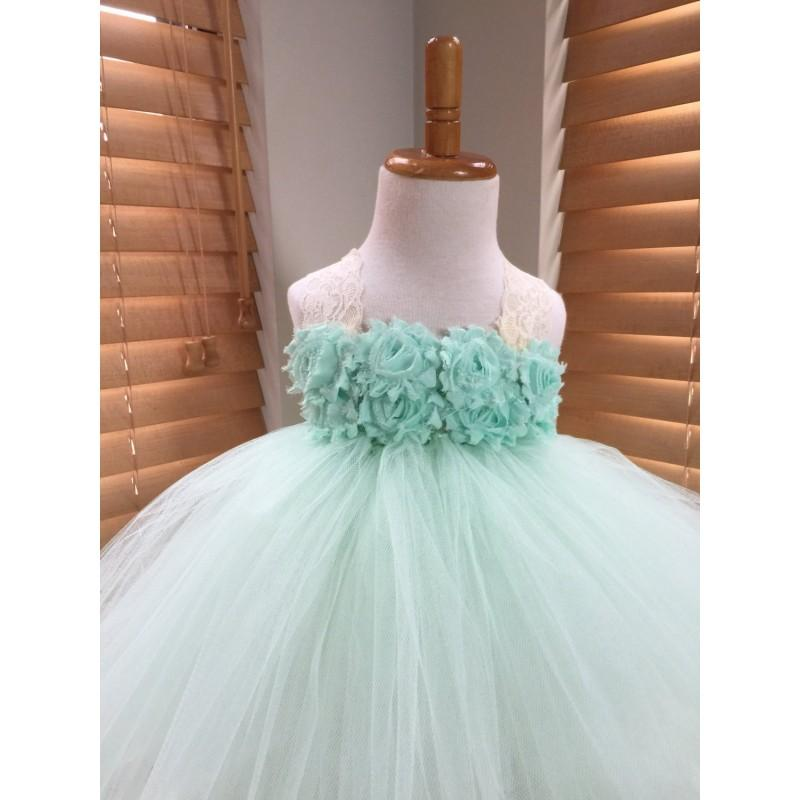 Hochzeit - Mint Green Ivory Flower Girl Satin Lace Tutu Dress, Chiffon Ballerina Rhinestone Flower, Flower Girl Dress - Hand-made Beautiful Dresses