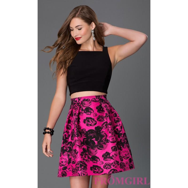 d36c3ecd2 Short Sleeveless Two Piece Dress with Print Skirt by Blondie Nites - Brand Prom  Dresses