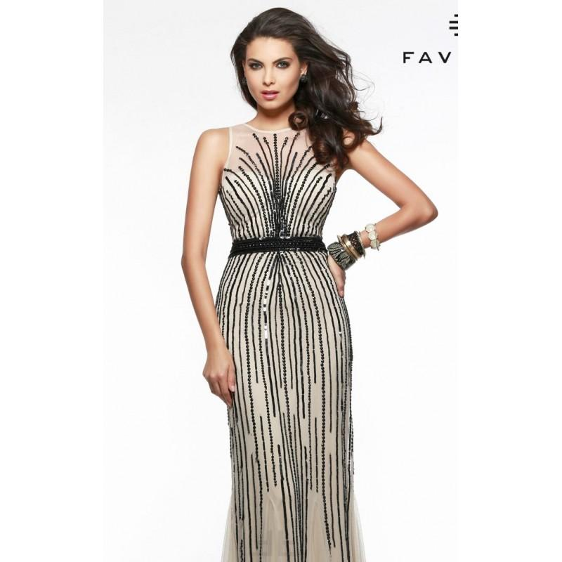 Wedding - Champagne/Black Sequin Applique Gown by Faviana - Color Your Classy Wardrobe