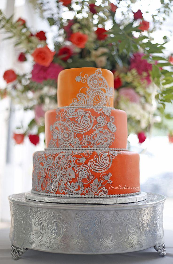 Cake Silver Patterned Orange Cake 2758528 Weddbook