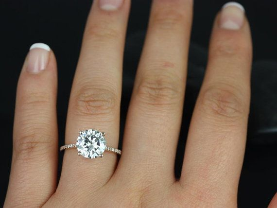 Wedding - Eloise 9mm Engagement Ring 14kt Rose Gold Round F1- Moissanite And Diamonds Cathedral