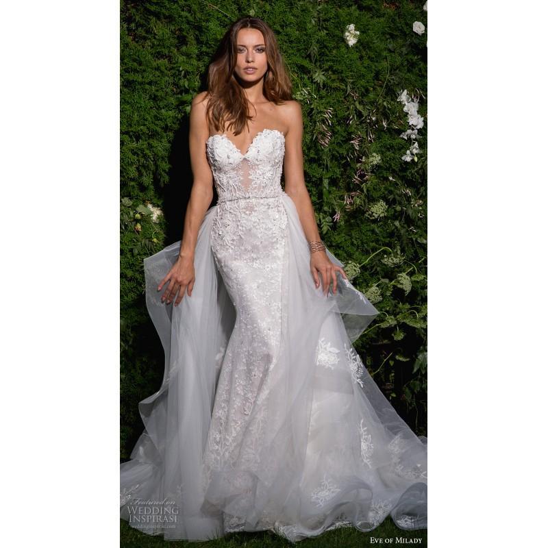 Wedding - Eve of Milady Spring/Summer 2017 4358 Detachable Open Back Ivory Sheath Sleeveless Sweetheart Lace Beading Dress For Bride - Bonny Evening Dresses Online