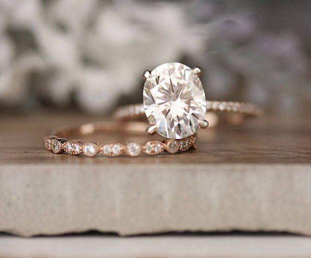 Mariage - Rose Gold Engagement Ring, Moissanite Oval 10x8mm And Diamond Bridal Ring Set, Forever Classic 3.00cts Moissanite Engagement Ring