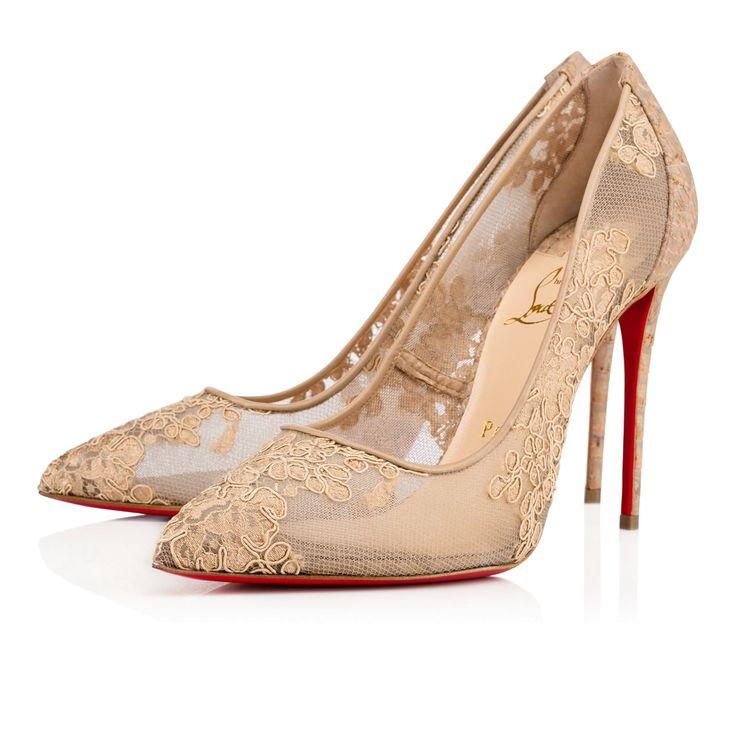 Свадьба - Follies Lace Dentelle 100 VERSION NUDE Dentelle - Women Shoes - Christian Louboutin