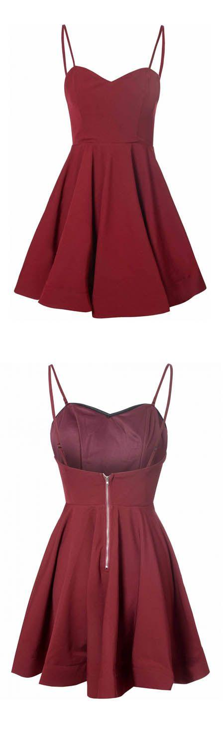 Mariage - Simple A-Line Spaghetti Straps Satin Burgundy Short Homecoming Dress With Pleats