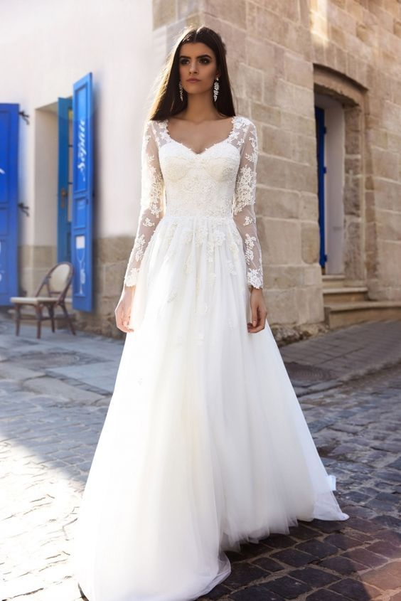 Floral applique sheer long sleeve wedding dress 2759301 weddbook floral applique sheer long sleeve wedding dress junglespirit Images
