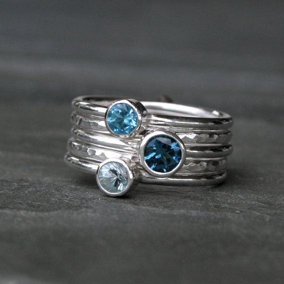 Mariage - Deep Sea Stacking Rings, London Blue Topaz Swiss Blue Topaz Aquamarine, Sterling Silver, Set Of Five, Stackable Rings, Stack, Gemstone Jewel