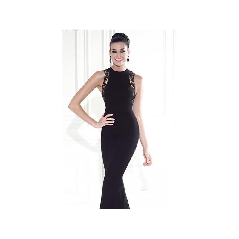 زفاف - Black Embellished Lycra Crepe Gown by Tarik Ediz - Color Your Classy Wardrobe